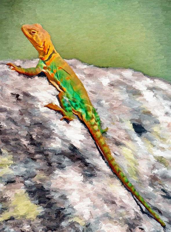 Oklahoma Print featuring the painting Oklahoma Collared Lizard by Jeff Kolker