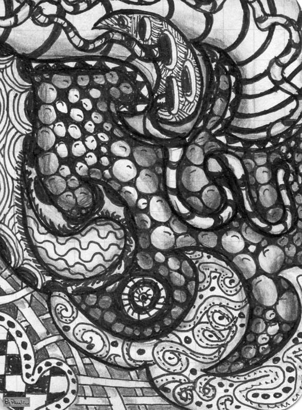 Abstract Art Print featuring the drawing Paisley Day by Paula Greenlee