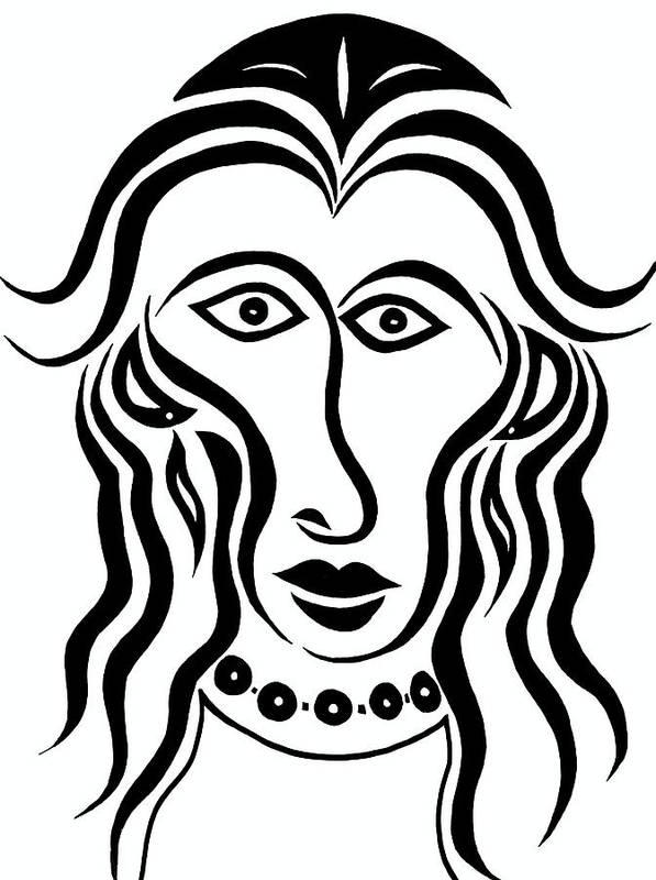 Persephone Art Print featuring the drawing Persephone by Beth Akerman