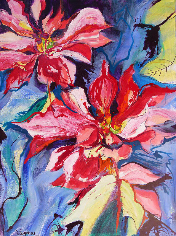Poinsettia Art Print featuring the painting Poinsettia Color by Suzanne Willis