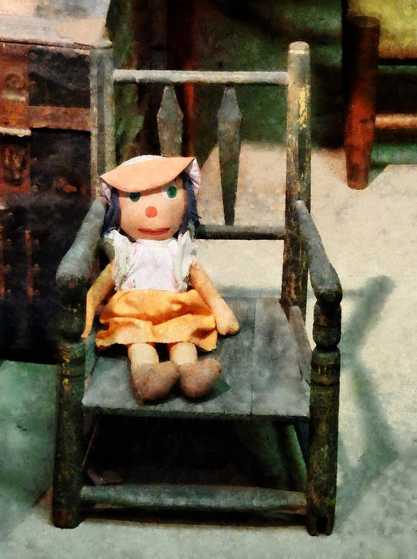 Doll Art Print featuring the photograph Rag Doll In Chair by Susan Savad