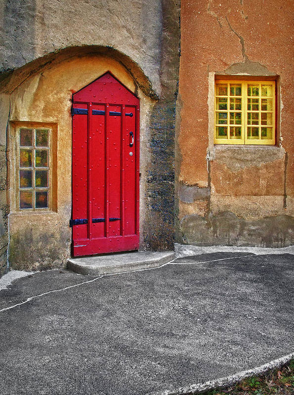 Medieval Art Print featuring the photograph Red Door And Yellow Windows by Susan Candelario