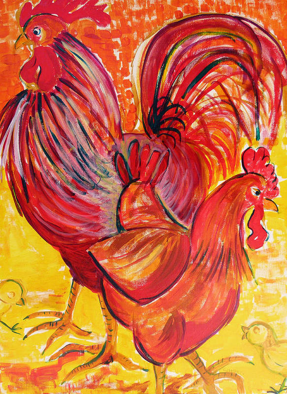 Rooster Art Print featuring the painting Red Rooster Red Hen by Suzanne Willis