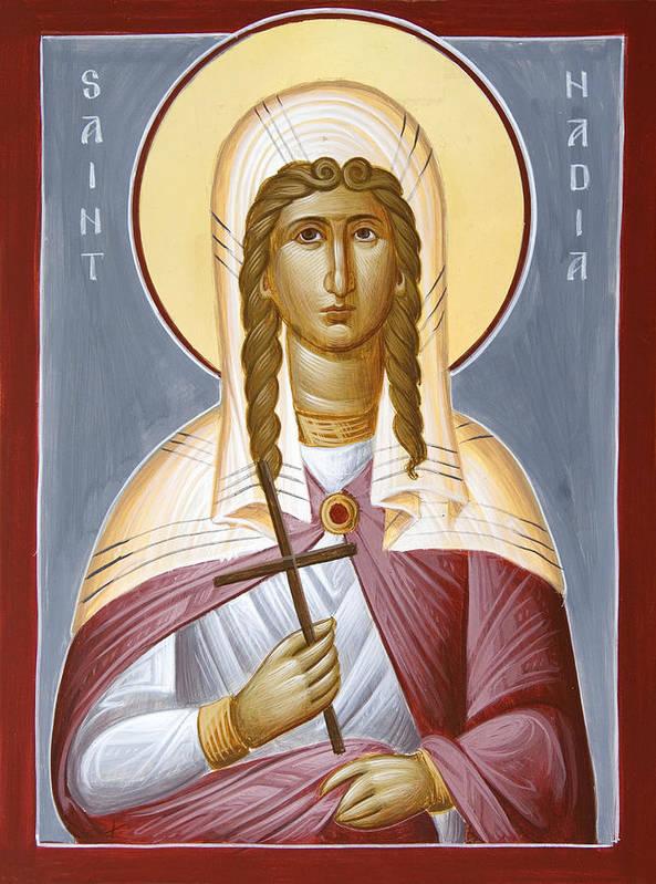 Saint Nadia Art Print featuring the painting Saint Nadia - Hope by Julia Bridget Hayes