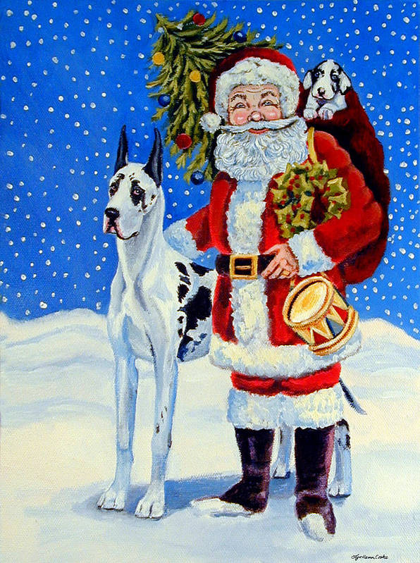 Great Dane Art Print featuring the painting Santa's Helpers by Lyn Cook