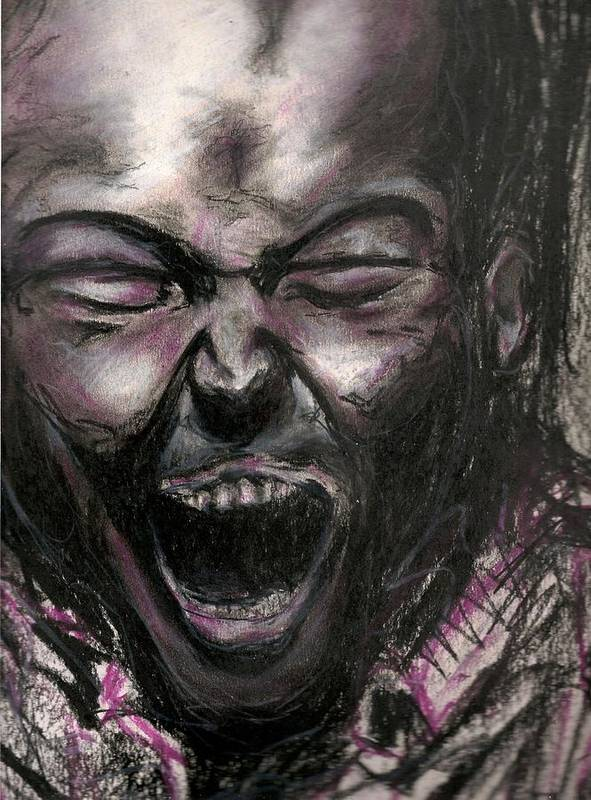 Drawing Art Print featuring the drawing Scream by Gustavo Ramirez