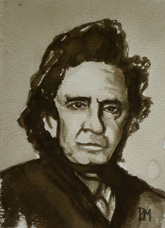 Johnny Cash Print featuring the painting Sepia Johnny II by Pete Maier
