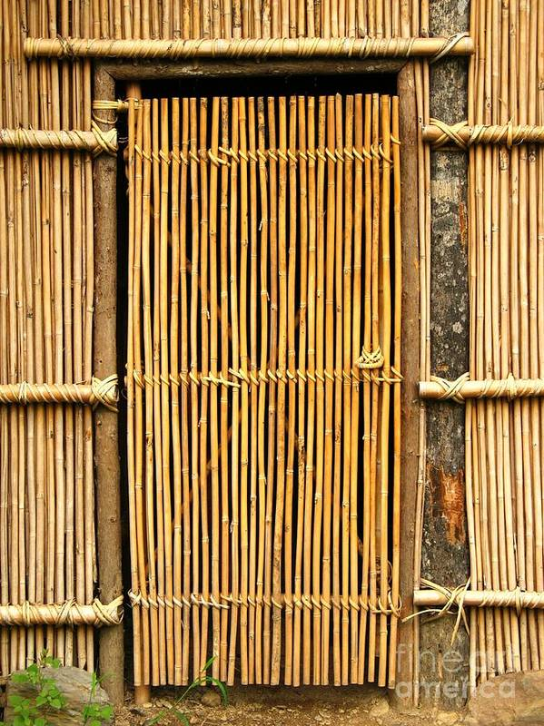 Bamboo Art Print featuring the photograph Simple Bamboo Door by Yali Shi