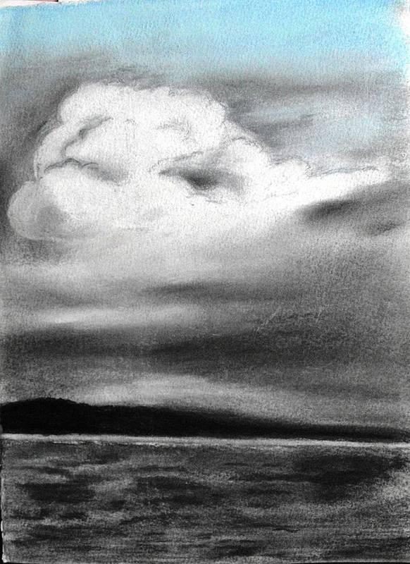 Sky; Landscape; Art Print featuring the drawing Sky IIi by Monika Nieborek