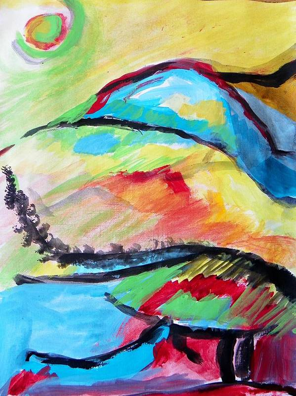Abstract Art Print featuring the painting Some Colors On A Hill by Judith Redman