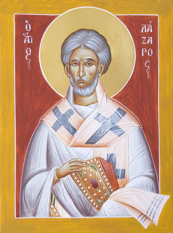 St Lazarus Art Print featuring the painting St Lazarus by Julia Bridget Hayes