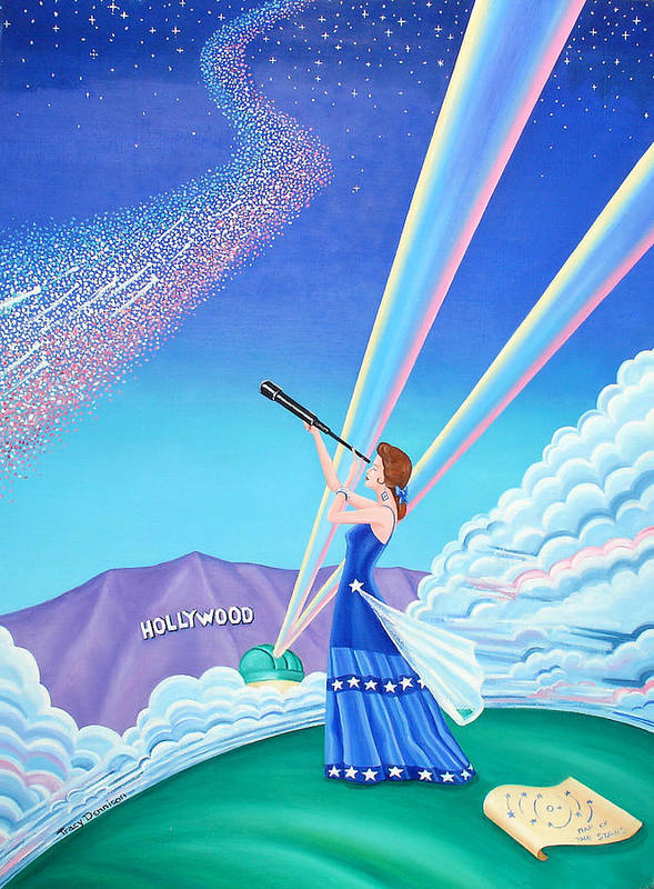 Hollywood Sign Art Print featuring the painting Stargazer by Tracy Dennison