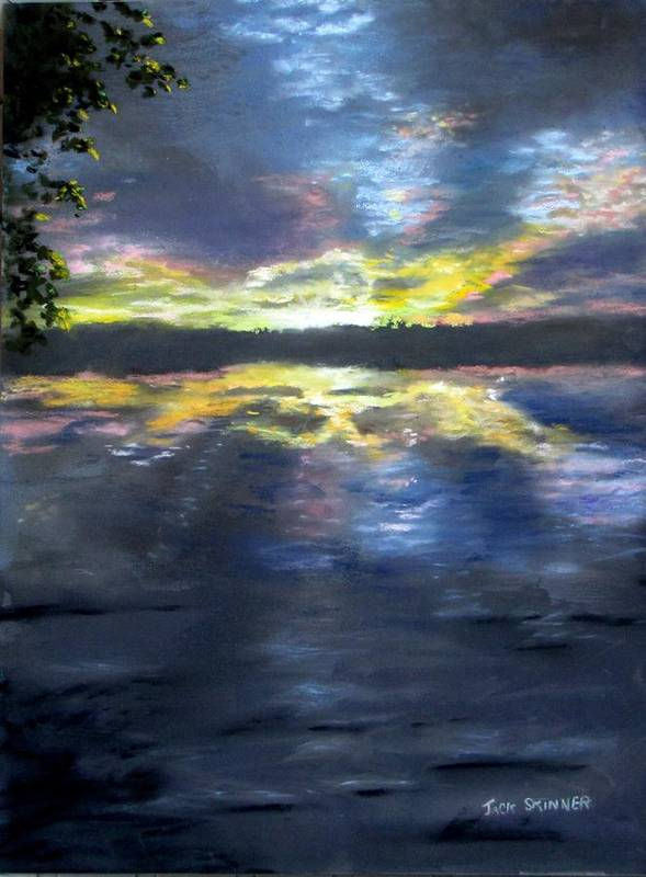 Sunset Art Print featuring the painting Sunset Over Mystic Lakes by Jack Skinner