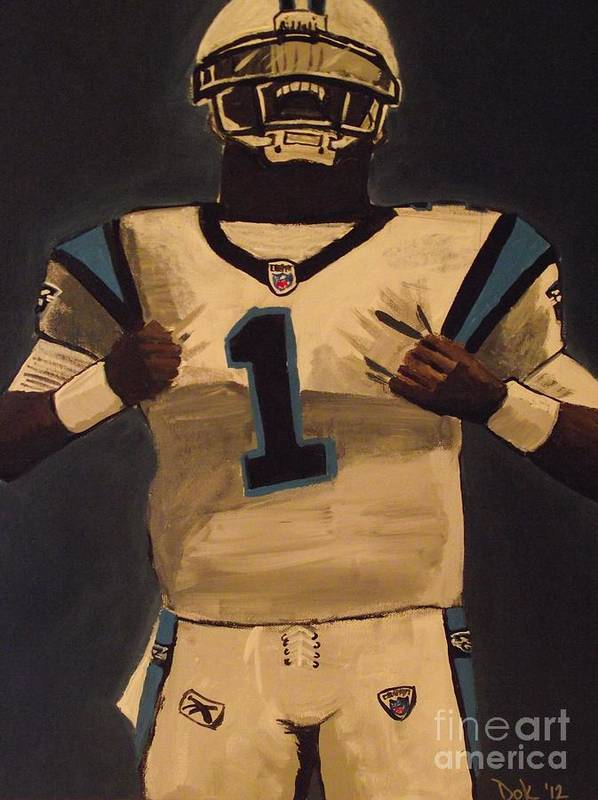 Nfl Football Sports Carolina Panthers Cam Newton Art Print featuring the painting Super Cam by Simon Hardesty