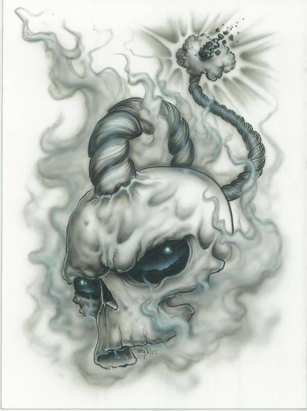 Skull Art Print featuring the painting The Fuse Is Lit In Gray by Mike Royal