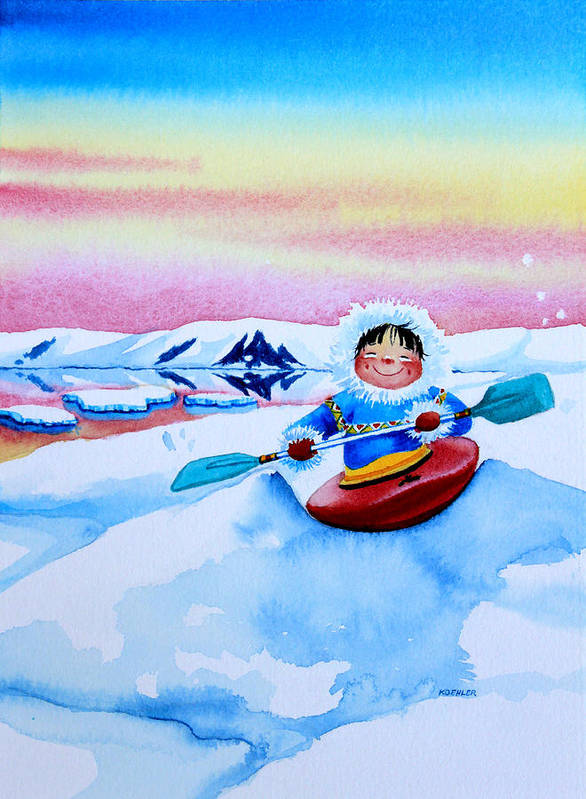 Storybook Illustration Art Print featuring the painting The Kayak Racer 3 by Hanne Lore Koehler