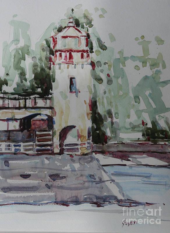 Landscape Art Print featuring the painting The Lighthouse by Gayatri Vasudevan