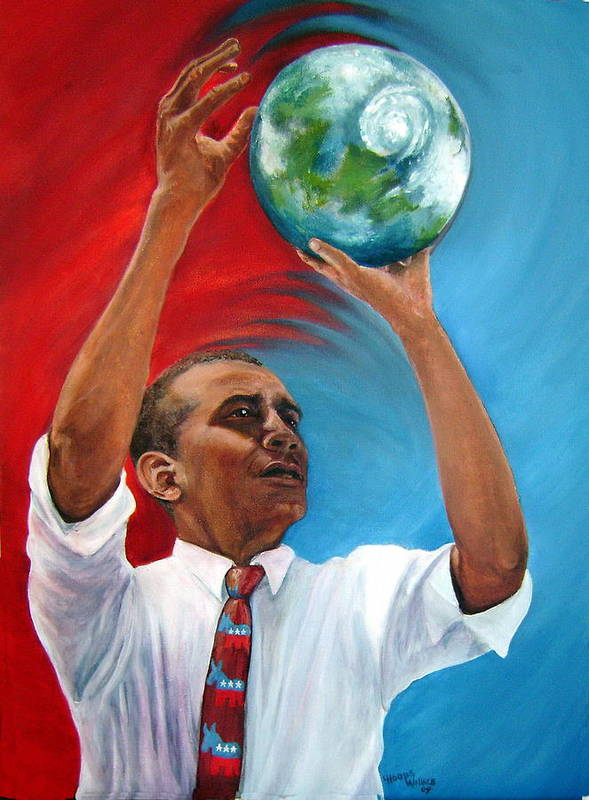 Leslie Art Print featuring the painting Tossing The World by Leslie Hoops-Wallace