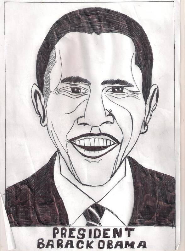 Duck Print featuring the drawing United State President Barack Obama by Ademola kareem oshodi