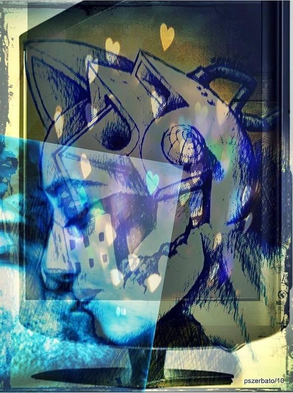 Physical Sensation Art Print featuring the digital art Virtual Kiss 1 by Paulo Zerbato