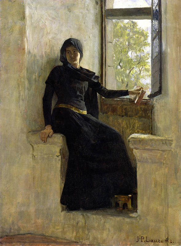 Female; Window; Seated; Black Dress; Medieval Costume; Portrait; Siege Print featuring the painting Waiting by Jean Pierre Laurens