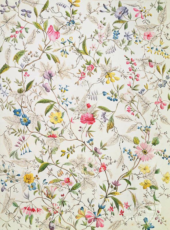 Kilburn Art Print featuring the painting Wild Flowers Design For Silk Material by William Kilburn