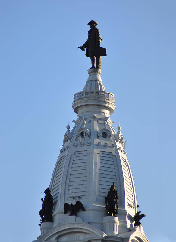 William Penn Print featuring the photograph William Penn - On Top Of City Hall by Bill Cannon