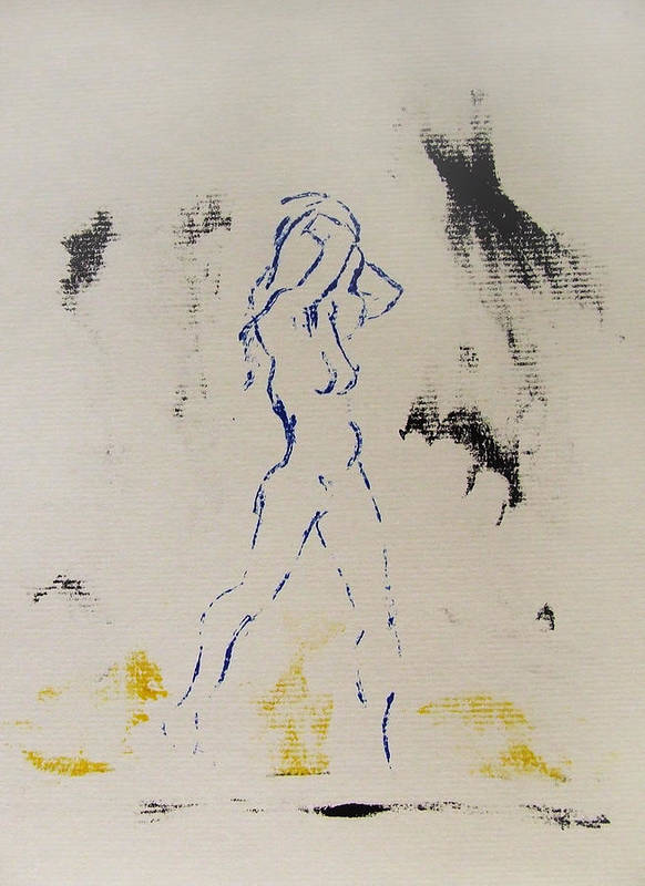 Nude Art Print featuring the painting Young Female Nude In Agony While Running From Her Thoughts In Blue Yellow Black Serigraph Monoprint by M Zimmerman