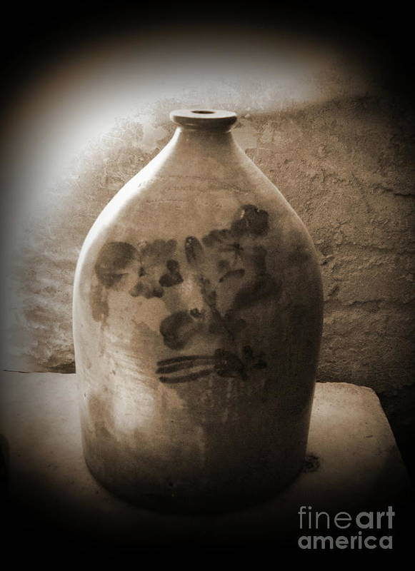 Pottery Art Print featuring the photograph Old Time Jug In Sepia by Eva Thomas