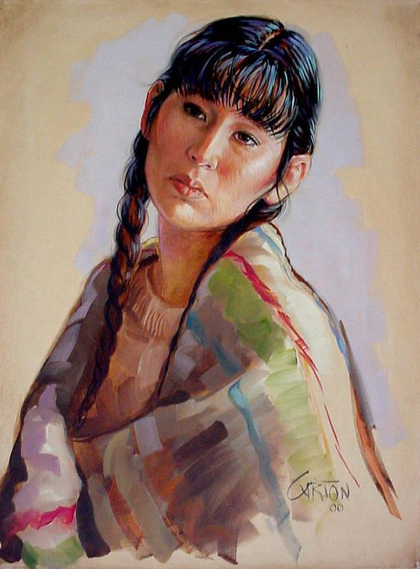 Sacajawea Art Print featuring the painting Sacajawea  Study by Jerrold Carton