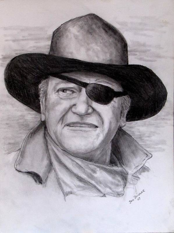 Cowboy Print featuring the drawing The Duke by Jack Skinner