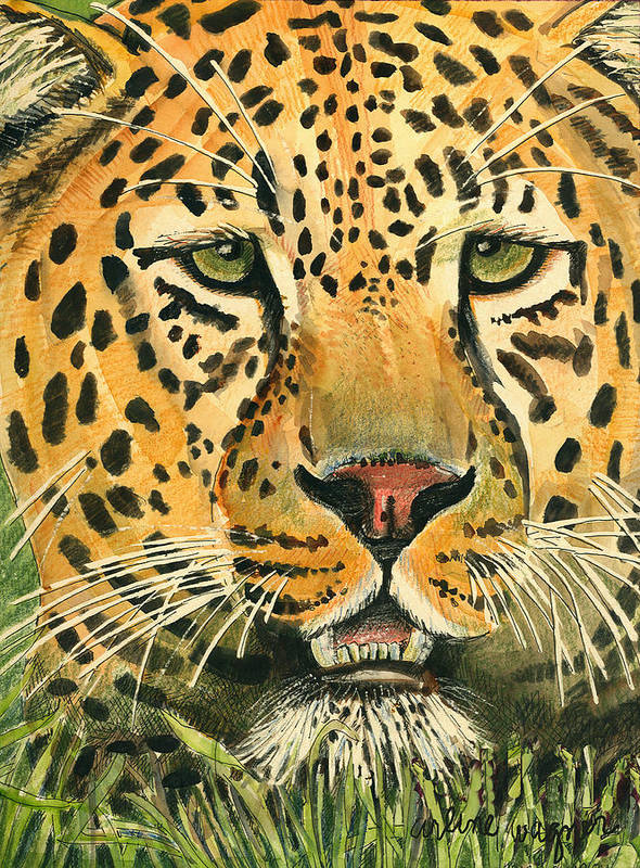 Leopard Art Print featuring the painting Waiting For Prey by Arline Wagner