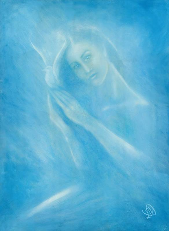 Love Art Print featuring the painting Angel With Dove by Elizabeth Silk
