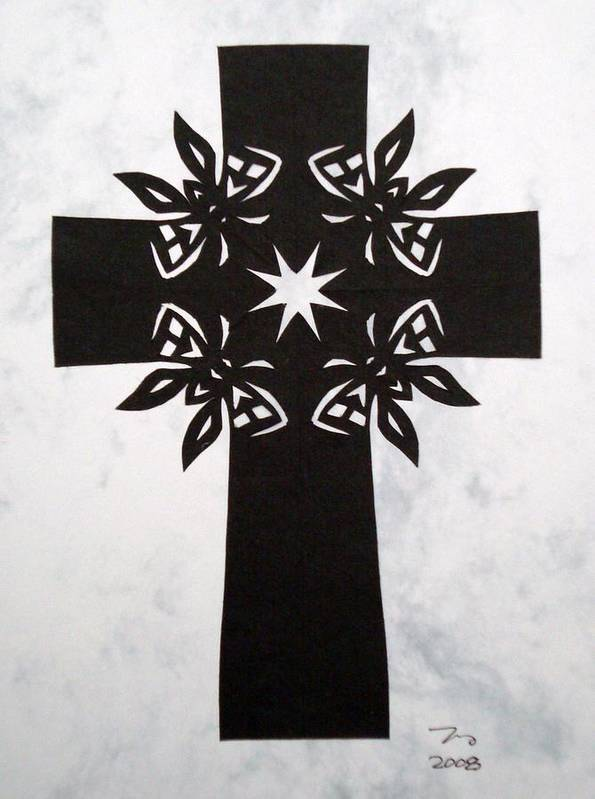 Beliefs Art Print featuring the mixed media Black Butterfly-cross by Tong Steinle