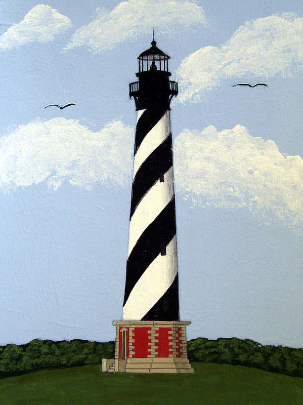 Lighthouse Paintings Art Print featuring the painting Cape Hatteras Lighthouse by Frederic Kohli
