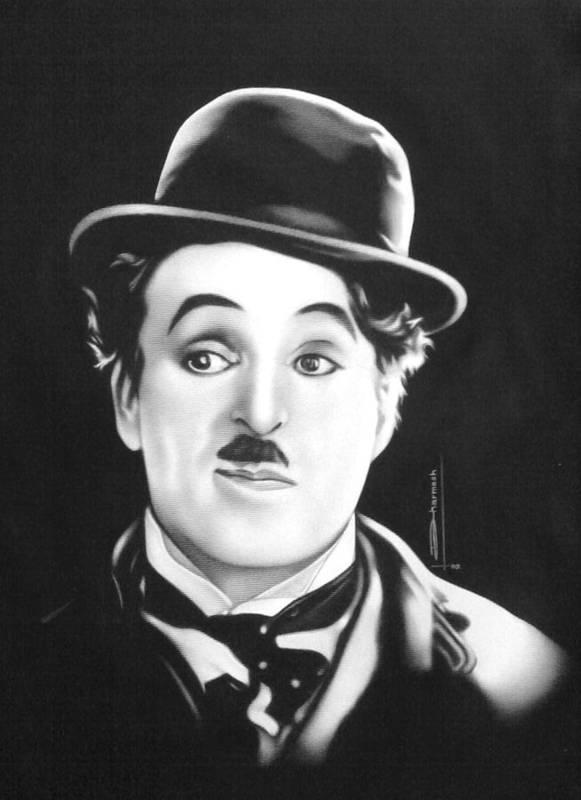 Portrait Painting Art Print featuring the painting Charli Chaplin by Dharmesh Prajapati