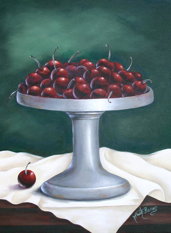 Cherries Art Print featuring the painting Cherries by Ruth Bares