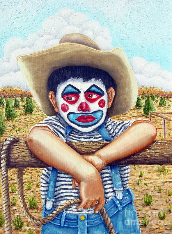 Paris Art Print featuring the painting County Fair Clown by Santiago Chavez