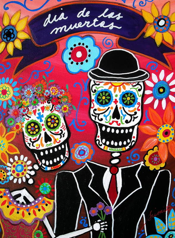 Day Of The Dead Art Print Featuring Painting Couple By Pristine