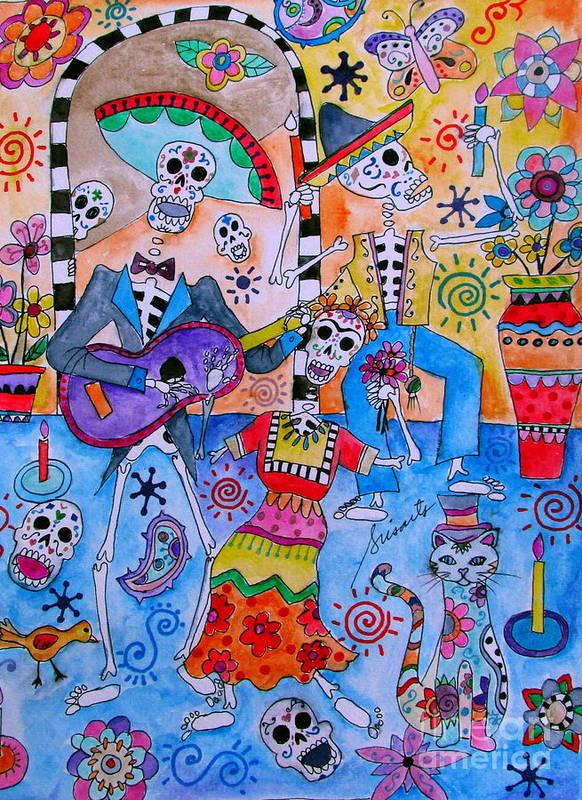 Frida Art Print featuring the painting Fiesta Calaveras by Pristine Cartera Turkus