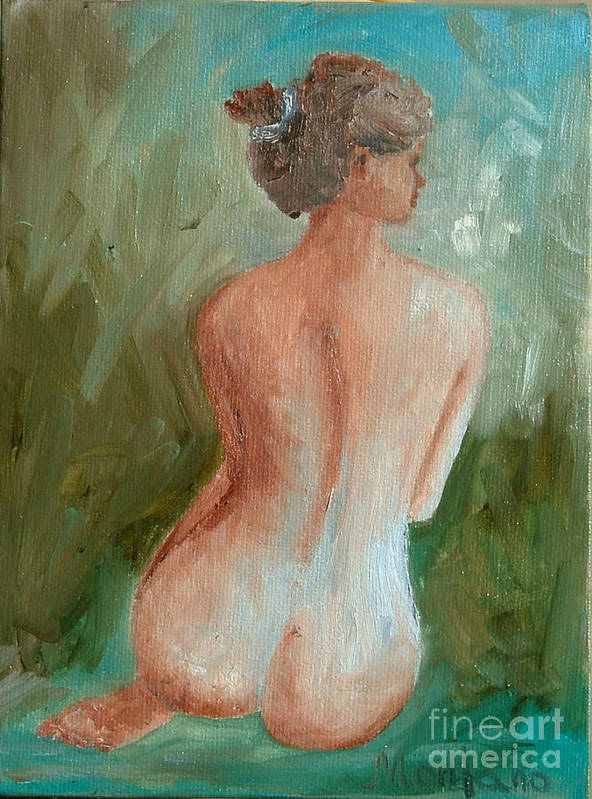 Nude Art Print featuring the painting Girl Nude by Inna Montano