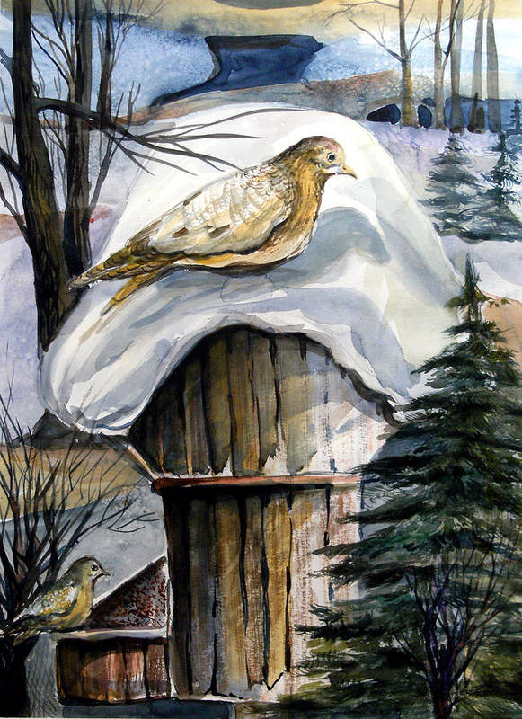 Bird Art Print featuring the painting His Eye Is On The Sparrow by Mindy Newman