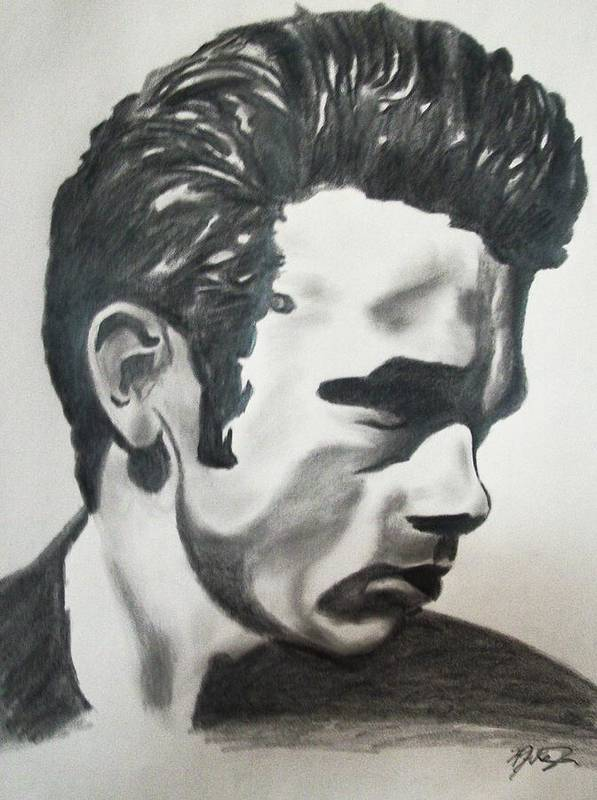 James Dean Portraits Art Print featuring the drawing James Dean by Mikayla Ziegler