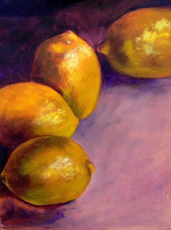 Lemons Art Print featuring the painting Lemons by Deborah Carroll