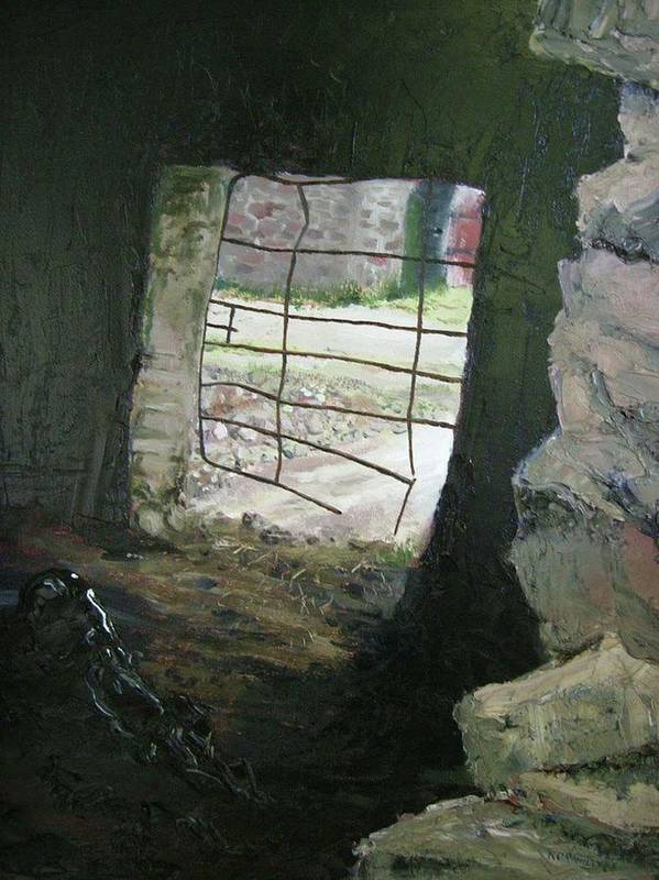Window Art Print featuring the painting Looking Through 3 by Keith O Rahilly