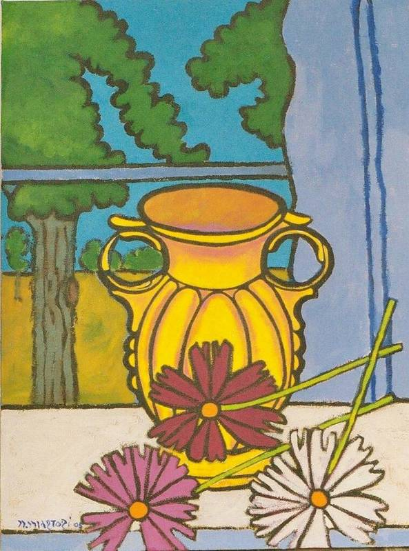 Mccoy Art Print featuring the painting Mccoy Vase With Cosmos by Nicholas Martori