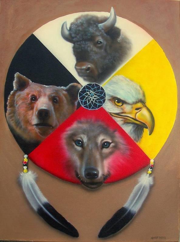 Native American Medicine Wheel Art Print featuring the painting Native American Medicine Wheel by Amatzia Baruchi