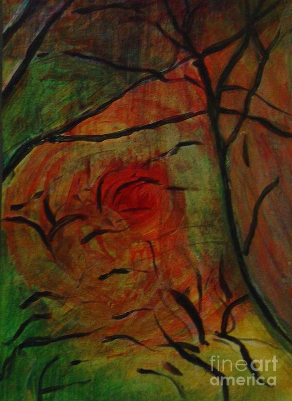 Abstract Fantasy Landscape Original Painting Art Print featuring the painting Orange Dawn by Leila Atkinson