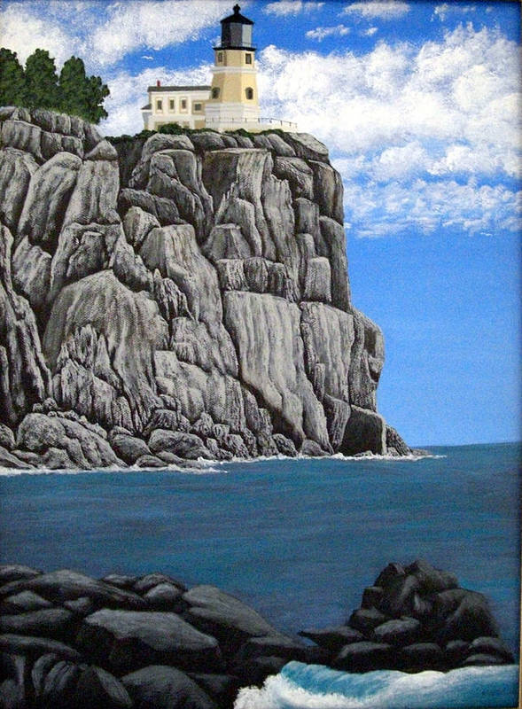 Lighthouse Paintings Art Print featuring the painting Split Rock Lighthouse by Frederic Kohli