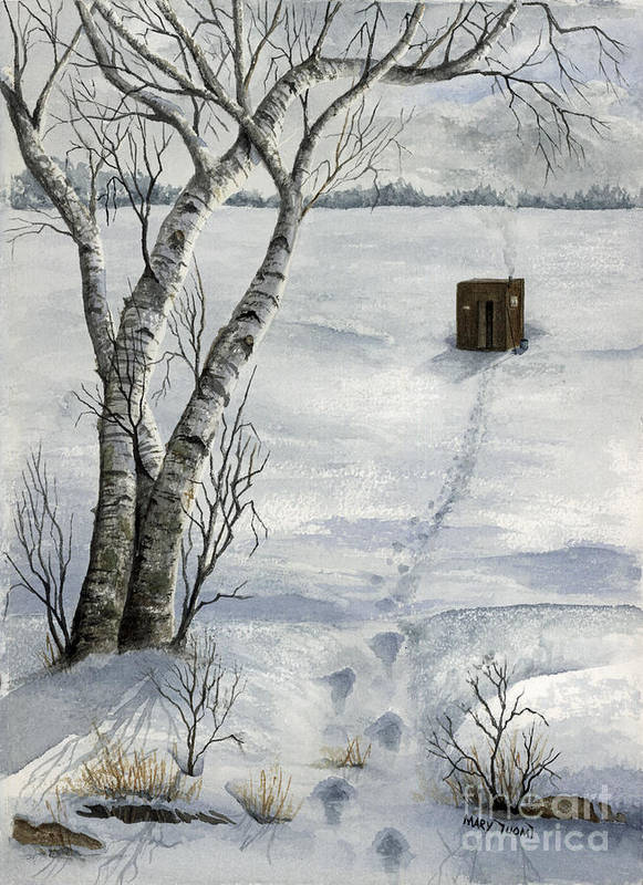 Fishing Art Print featuring the painting Winter Splendor by Mary Tuomi